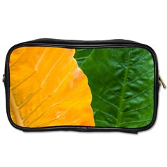 Wet Yellow And Green Leaves Abstract Pattern Toiletries Bags