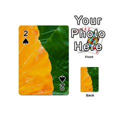 Wet Yellow And Green Leaves Abstract Pattern Playing Cards 54 (mini)