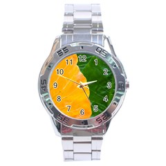 Wet Yellow And Green Leaves Abstract Pattern Stainless Steel Analogue Watch