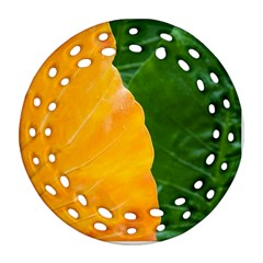 Wet Yellow And Green Leaves Abstract Pattern Round Filigree Ornament (two Sides)