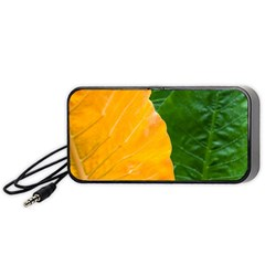 Wet Yellow And Green Leaves Abstract Pattern Portable Speaker (black)