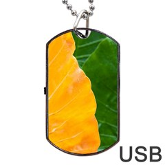 Wet Yellow And Green Leaves Abstract Pattern Dog Tag Usb Flash (one Side)