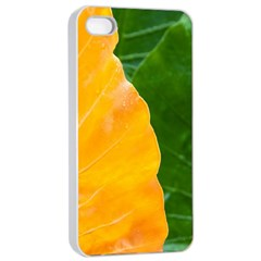 Wet Yellow And Green Leaves Abstract Pattern Apple Iphone 4/4s Seamless Case (white)