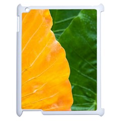 Wet Yellow And Green Leaves Abstract Pattern Apple Ipad 2 Case (white)
