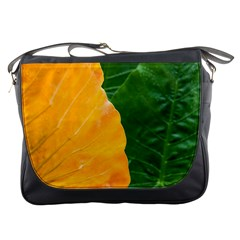 Wet Yellow And Green Leaves Abstract Pattern Messenger Bags