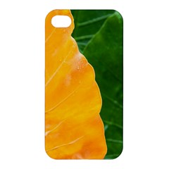 Wet Yellow And Green Leaves Abstract Pattern Apple Iphone 4/4s Premium Hardshell Case
