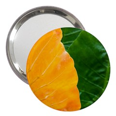 Wet Yellow And Green Leaves Abstract Pattern 3  Handbag Mirrors