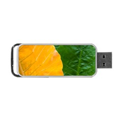 Wet Yellow And Green Leaves Abstract Pattern Portable Usb Flash (one Side)