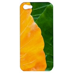 Wet Yellow And Green Leaves Abstract Pattern Apple Iphone 5 Hardshell Case