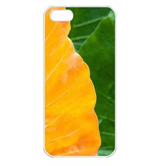 Wet Yellow And Green Leaves Abstract Pattern Apple Iphone 5 Seamless Case (white)