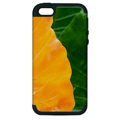 Wet Yellow And Green Leaves Abstract Pattern Apple Iphone 5 Hardshell Case (pc+silicone)