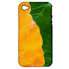 Wet Yellow And Green Leaves Abstract Pattern Apple Iphone 4/4s Hardshell Case (pc+silicone)