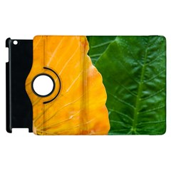 Wet Yellow And Green Leaves Abstract Pattern Apple Ipad 3/4 Flip 360 Case