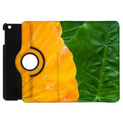 Wet Yellow And Green Leaves Abstract Pattern Apple Ipad Mini Flip 360 Case