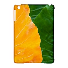 Wet Yellow And Green Leaves Abstract Pattern Apple Ipad Mini Hardshell Case (compatible With Smart Cover)