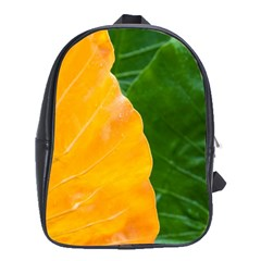 Wet Yellow And Green Leaves Abstract Pattern School Bags (xl)