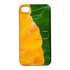 Wet Yellow And Green Leaves Abstract Pattern Apple Iphone 4/4s Hardshell Case With Stand