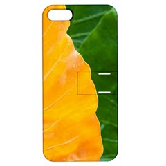 Wet Yellow And Green Leaves Abstract Pattern Apple Iphone 5 Hardshell Case With Stand