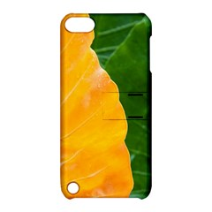 Wet Yellow And Green Leaves Abstract Pattern Apple Ipod Touch 5 Hardshell Case With Stand
