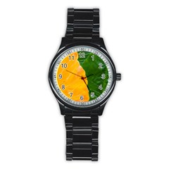 Wet Yellow And Green Leaves Abstract Pattern Stainless Steel Round Watch