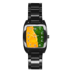 Wet Yellow And Green Leaves Abstract Pattern Stainless Steel Barrel Watch