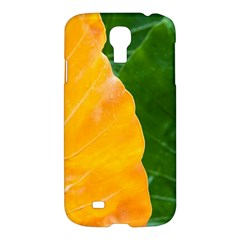 Wet Yellow And Green Leaves Abstract Pattern Samsung Galaxy S4 I9500/i9505 Hardshell Case