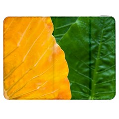 Wet Yellow And Green Leaves Abstract Pattern Samsung Galaxy Tab 7  P1000 Flip Case