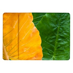 Wet Yellow And Green Leaves Abstract Pattern Samsung Galaxy Tab 10 1  P7500 Flip Case