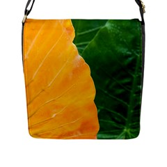 Wet Yellow And Green Leaves Abstract Pattern Flap Messenger Bag (l)