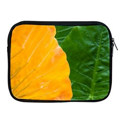 Wet Yellow And Green Leaves Abstract Pattern Apple Ipad 2/3/4 Zipper Cases