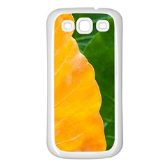 Wet Yellow And Green Leaves Abstract Pattern Samsung Galaxy S3 Back Case (White)