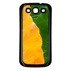 Wet Yellow And Green Leaves Abstract Pattern Samsung Galaxy S3 Back Case (black)