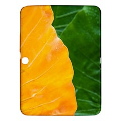 Wet Yellow And Green Leaves Abstract Pattern Samsung Galaxy Tab 3 (10 1 ) P5200 Hardshell Case