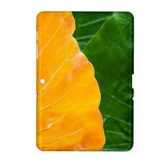 Wet Yellow And Green Leaves Abstract Pattern Samsung Galaxy Tab 2 (10 1 ) P5100 Hardshell Case