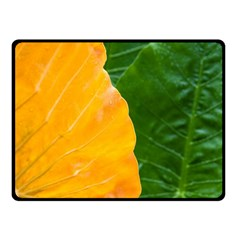Wet Yellow And Green Leaves Abstract Pattern Double Sided Fleece Blanket (small)