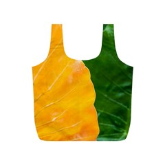 Wet Yellow And Green Leaves Abstract Pattern Full Print Recycle Bags (s)
