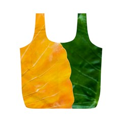 Wet Yellow And Green Leaves Abstract Pattern Full Print Recycle Bags (m)