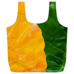 Wet Yellow And Green Leaves Abstract Pattern Full Print Recycle Bags (l)