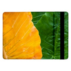 Wet Yellow And Green Leaves Abstract Pattern Samsung Galaxy Tab Pro 12 2  Flip Case