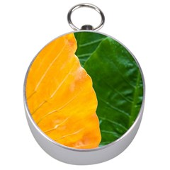 Wet Yellow And Green Leaves Abstract Pattern Silver Compasses