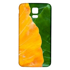 Wet Yellow And Green Leaves Abstract Pattern Samsung Galaxy S5 Back Case (white)