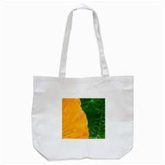 Wet Yellow And Green Leaves Abstract Pattern Tote Bag (white)