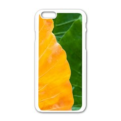 Wet Yellow And Green Leaves Abstract Pattern Apple Iphone 6/6s White Enamel Case