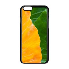 Wet Yellow And Green Leaves Abstract Pattern Apple Iphone 6/6s Black Enamel Case