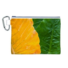 Wet Yellow And Green Leaves Abstract Pattern Canvas Cosmetic Bag (l)