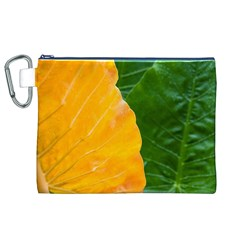 Wet Yellow And Green Leaves Abstract Pattern Canvas Cosmetic Bag (xl)
