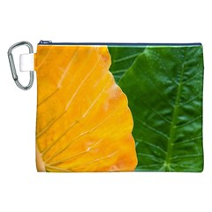 Wet Yellow And Green Leaves Abstract Pattern Canvas Cosmetic Bag (xxl)