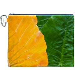 Wet Yellow And Green Leaves Abstract Pattern Canvas Cosmetic Bag (xxxl)