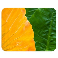 Wet Yellow And Green Leaves Abstract Pattern Double Sided Flano Blanket (medium)