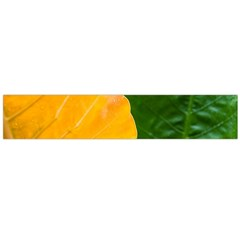Wet Yellow And Green Leaves Abstract Pattern Flano Scarf (large)